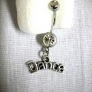 NEW DANCE TEXT CURVED DANCER CHARM ON DBL CLEAR CZ 14g BAR NAVEL RING