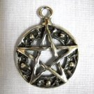 NEW WOVEN 5 POINT PENTACLE STAR w POINTS PEWTER PENDANT NECKLACE