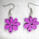 FUN NATURE GIRL PURPLE CUT OUT DAISY FLOWERS WOODEN FLOWER CHARM EARRINGS
