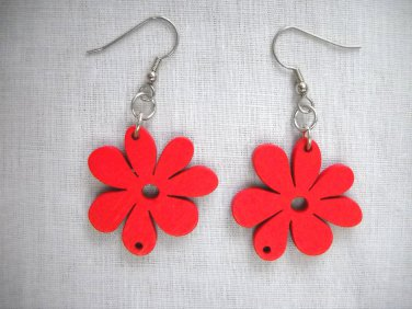 FUN TRUE RED DAISY FLOWERS DANGLING WOODEN FLOWER CHARM CUT OUT EARRINGS