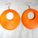 BIG SIZE LARGE HOT ORANGE STAIN WOOD ROUND EXOTIC DANGLING FLAT HOOP EARRINGS