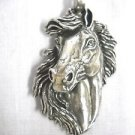 HUGE XL SIZE EQUESTRIAN HORSE HEAD BUST FLOWING MANE EQUINE USA PEWTER PENDANT ADJ NECKLACE