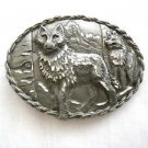 EJC 95 WILDLIFE TWO WOLVES / WOLF MOUNTAIN SCENE BELT BUCKLE MADE IN THE USA