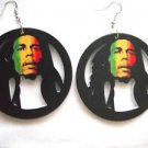 BIG BOLD BOB MARLEY ROUND CUT OUT HOOP w RASTA RED YELLOW & GREEN WOOD EARRINGS