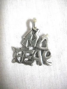 NEW TIGHT TEXT NO FEAR SURF EXTREME USA CAST PEWTER PENDANT ADJ CORD NECKLACE