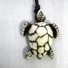 WHITE OCEAN LIFE LEATHERBACK SEA TURTLE DESIGN RESIN PENDANT ADJ NECKLACE