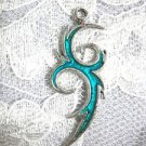TRIBAL INK TATTOO ART SCROLL w TURQUOISE BLUE COLOR INLAY PEWTER PENDANT ADJ NECKLACE