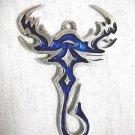 TRIBAL DESIGN SCORPION TATTOO INK LOOK COBALT BLUE INLAY PEWTER PENDANT ADJ NECKLACE