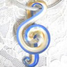 MUSICAL GLASS TREBLE G CLEF MUSIC SYMBOL WHITE - BLUE & BRONZE SHIMMER PENDANT NECKLACE