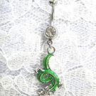 FANTASY GREEN CHINESE DRAGON CHARM DANGLING ON 14g DAZZLING CLEAR CZ BELLY RING BARBELL