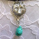 WILD ENGRAVED WOLF HEAD w SEA GREEN TURQUOISE NUGGET ADJ NECKLACE WOLVES