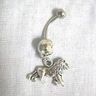 LEO AFRICAN SAFARI 3D SIMBA KING OF THE JUNGLE LION EL LEON CHARM 14g CLEAR CZ BELLY RING