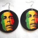 NEW BOLD CLASSIC BOB MARLEY RASTA COLOR GREEN YELLOW RED WOODEN REGGAE EARRINGS