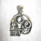 STEAMPUNK REVOLUTION HUMAN SKULL w GEARS in CRANIUM PEWTER PENDANT ON ADJ CORD NECKLACE