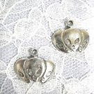3 FACES VISITORS / ALIEN HEAD / GREYS DANGLING USA PEWTER CHARM HOOK EARRINGS