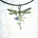 DOUBLE PENDANT DRAGONFLY & CLASSIC PIXIE FAIRY w DARK BLUE GEM PENDANT ADJ NECKLACE