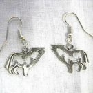 PEWTER FULL BODY HOWLING WOLF SILHOUETTE DANGLING CHARM EARRINGS WILDLIFE ANIMAL
