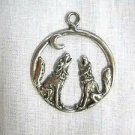 NEW TWIN HOWLING FULL BODY WOLVES / WOLF w MOON USA PEWTER PENDANT ADJ NECKLACE