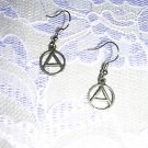 CAST PEWTER ANARCHY SYMBOL LETTER A SIGN WITH CIRCLE CHARM EARRINGS JEWELRY