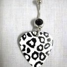 NEW BLACK & WHITE LEOPARD JUNGLE CAT PRINTED GUITAR PICK w 14g BLACK BELLY RING