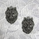 WILD PEWTER WOLF HEADS FACE DANGLE EARRINGS JEWELRY