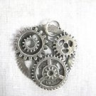 STEAMPUNK REVOLUTION GEAR ART SOLID CAST USA PEWTER PENDANT ON ADJUSTABLE CORD NECKLACE