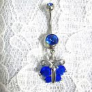 NEW BUTTERFLY WITH COBALT BLUE CZ on MATCHING 14g NAVEL BELLY RING