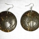 BIG EXOTIC KISSING DOLPHIN HEART LASER ENGRAVED DESIGN COCONUT SHELL EARRINGS