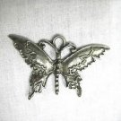 ORNATE DECO NATURE GIRL BUTTERFLY CAST PEWTER PENDANT ON ADJ CORD NECKLACE