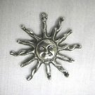 CELESTIAL SUN w FACE & TWISTED SOLAR FLARE - RAYS CAST PEWTER PENDANT NECKLACE