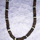 "BEACH SURF GEAR LARGE BROWN BLACK WHITE COCO BEADS SURFER 18"" NECKLACE"