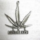 NEW NATURE GIANT POT LEAF LEGALIZE TEXT USA PEWTER PENDANT ADJ CORD NECKLACE