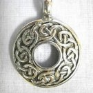 NEW CELTIC DESIGN ROUND RING INFINITY SCROLL KNOTS PEWTER PENDANT ADJ NECKLACE