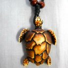ALOHA OCEAN LIFE MEDIUM BROWN ENDANGERED LEATHERBACK SEA TURTLE DESIGN RESIN PENDANT ADJ NECKLACE