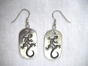 NEW LIZARDS GECKO MED SZ DOG TAG USA CAST PEWTER FULL PENDANT DANGLING EARRINGS