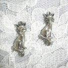 CUTE CRITTER FULL BODY FOX / FOREST ANIMAL DANGLING USA CAST PEWTER CHARM EARRINGS