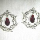 LARGE BARBED WIRE / BARB WIRE PEWTER w DEEP RED CRYSTAL DANGLING FLAT HOOP EARRINGS