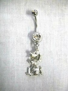 NEW CUTE SITTING BEGGING HOUND DOG PUPPY DANGLING PEWTER CHARM CLEAR BELLY RING