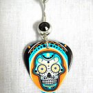 DETAILED SUGAR SKULL MIAMI COLORS PRINTED GUITAR PICK BLACK 14g CZ BELLY RING NAVEL RING