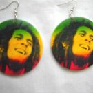 LARGE ROUND BOB MARLEY RASTA COLOR GREEN YELLOW RED SOLID WOOD REGGAE EARRINGS