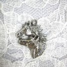 NEW CAST HORSE HEADS MOTHER & BABY PONY PEWTER PENDANT ADJ NECKLACE ANIMAL
