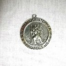 SAINT CHRISTOPHER PROTECT US MEDALLION TRAVELER PEWTER PENDANT ADJ NECKLACE