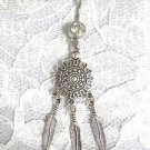 TRIBAL DREAM CATCHER DECO SUN SHIELD w 3 DANGLING FEATHERS 14g CLEAR BELLY RING