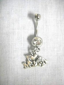 I LOVE MY DOG PUPPY FACE & HEART PET LOVERS CHARM CZ BELLY RING NAVEL JEWELRY