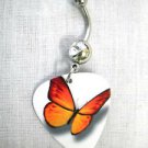 ORANGE & YELLOW COLORS BUTTERFLY PRINT GUITAR PICK on 14g CLEAR CZ BELLY BARBELL
