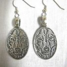 NEW WILDLIFE GRAY WOLF FACE OVAL SHAPED SOLID PEWTER FULL PENDANT SIZE PAIR OF EARRINGS