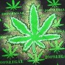 BRIGHT LEGAL GIANT POT LEAF BLACK & GREEN COLORS HEAD WRAP SCARF STATEMENT HANKERCHIEF