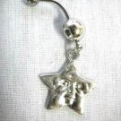CAST PEWTER NIGHT SKY STAR WITH FACE CHARM ON 14g CLEAR CZ BARBELL BELLY RING