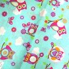 NEW BABY BLUE & PURPLE & PINK OWLS BUTTERFLIES & FLOWERS BANDANA OWL / BUTTERFLY