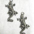 IGUANA REPTILE PEWTER PENDANT SIZE PAIR TROPICAL FASHION EARRINGS
